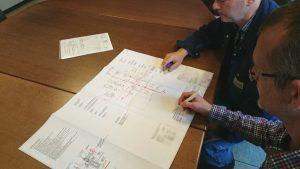Monteure von BW-Fixatoren besprechen die Vorab-Installation für eine Maschinenausrichtung. Sie zeichnen Ihre Anmerkungen in einem Bauplan ein.
