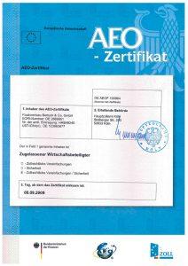 AEO Zertifikat 2009-09